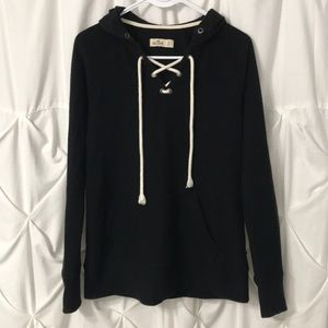 Hollister lace up thermal hoodie shirt - size S